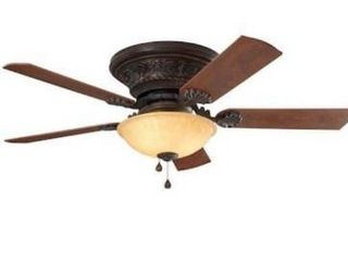 Harbor Breeze lynstead 52 in Specialty bronze lED Indoor Flush Mount Ceiling Fan