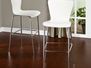 Simple living 30 inch Pisa Bentwood and Chrome Stools  Set of 2  Retail 148 49
