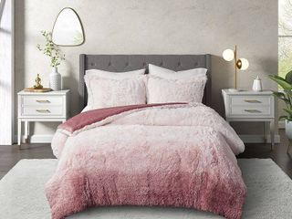 Cosmoliving Cleo Ombre Shaggy Fur King Comforter Set  3 Piece Bedding