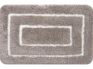 large Borders Taupe Bath Mat