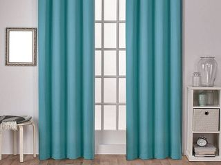 Set of 2 96 x52  Sateen Twill Weave Insulated Blackout Grommet Top Window Curtain Panels Thermal Green   Exclusive Home