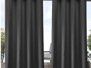 Exclusive Home Curtains Indoor Outdoor Solid Cabana Grommet Top Curtain Panel Pair  54x84  Charcoal