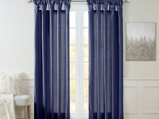 120 x50  lillian Twisted Tab lined light Filtering Curtain Navy