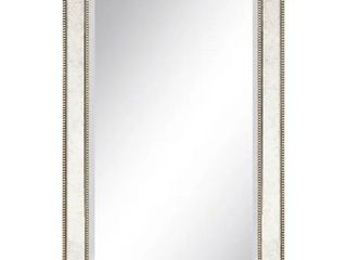 Champagne Bead Beveled Rectangular Mirror   Clear