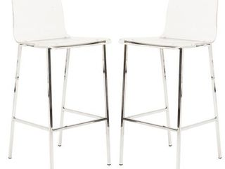 Pure Decor Clear Acrylic Pair of Counter Stool