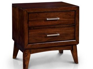 Furniture of America Kasten Brown Cherry 2 Drawer Mid century Style Nightstand Retail 216 49