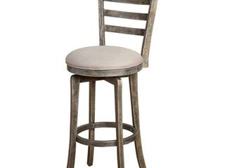 Simple living Ashton ladder Back Rubberwood linen Foam Weathered Grey Swivel Stool Retail 142 49