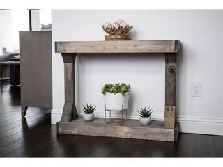 Barb Small Rustic Solid Wood Console Table by Del Hutson Designs   Grey