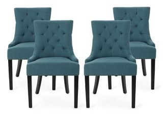Set of 2 Hayden Contemporary Tufted Fabric Dining Chairs