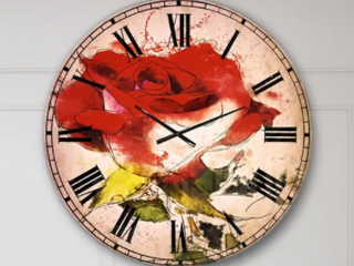 Designart Hand drawn Watercolor Rose Wall Clock