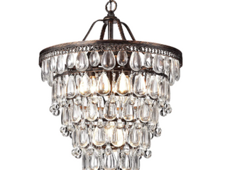 Cone Shape 4 light Antique Copper Crystal Chandelier Retail 239 99