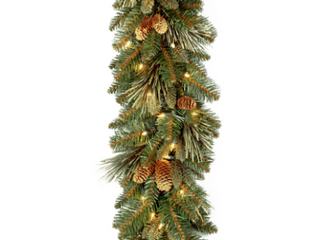National Tree Carolina Pine Garland with 27 Flocked Cones and 100 Clear lights  9 Feet x 10 Inch