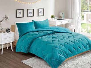 3pc Full Queen Jasper Chevron Reversible Comforter Mini Set Teal