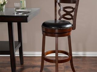 Windsor Home 31 in Wood and leather Swivel Stool   Dark Brown Retail 153 99