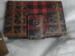 Giani Bernini Plaid Block Signature Framed Indexer Wallet