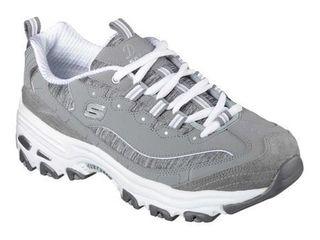 Skechers Sport Women s D lites Me Time Wide Fashion Sneaker  Grey  8 W US