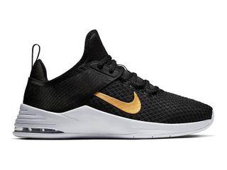 Nike Women s Air Max Bella TR 2 Training Shoes  8 5  Black Metallic Gold Vast Gray