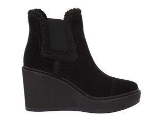 Sam Edelman Reagan Black Velutto Suede leather Faux Fur  size 10