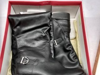 Womens AR35 Adarra Knee High Riding Boots  Black Smooth  Size 6 5M