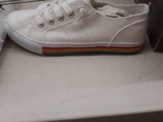 lady s white shoe with rainbow trim size 6