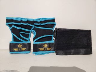 SK light Blue and Black Fitness Gloves with Mesh Travel Bag