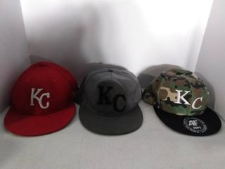 lot Of 3 Assorted Kansas City Hats