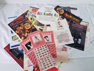 Elvis Collage Including Bumper Sticker  Ads  Vintage Bingo Cards  Etc  in Plastic Sleeve