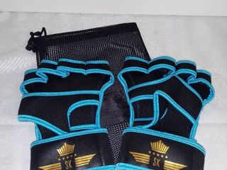 Blue and Black Xl SK Cross Training Gloves with Mesh Travel Bag
