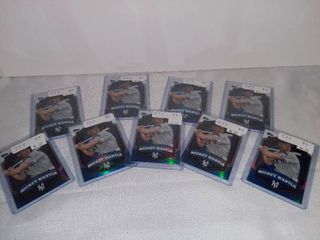 lot of 9 Holographic Mickey Mantle of the New York Yankees Baseball Cards in Plastic Sleeves