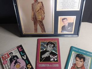 lot Of Elvis Presley Collectables  1 TV Guide  2 Special Collector s Edition Books And 1 Plaque
