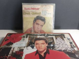 lot Of 2 Elvis Presley Collectables  1 Russell Stover Chocolate Box And 1 Vintage Record
