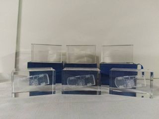 lot of 6 Glass Cut Nascar Car 29 Clear Paper Weight