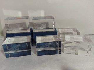 lot of 6 Glass Etched Nascar Car 18 Clear Paperweights