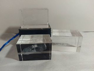 lot of 3 Glass Etched Nascar Cars 12 and 17 Clear Paperweights