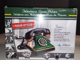 Poker Styled Telephone Rare Felt looking Corded Buzzer Ringer Flash Redial