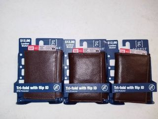 lot Of 3 Trifold Wallets With ID Protection