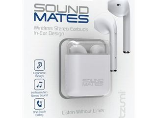 Tzumi Sound Mates Bluetooth Earbuds with Protective Charging Case