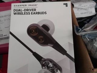 sharper image dual driver wireless earbuds