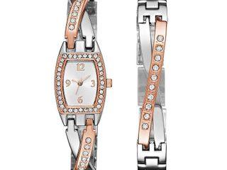Geneva Womens Rose Gold and Silver Tone Bangle Watch Boxed Set