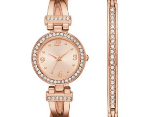 Geneva Womens Rose Gold Tone T Bar Bangle Watch Boxed Set
