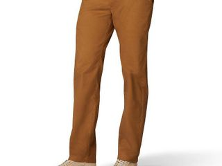 Men s lee Performance Series Extreme Comfort Khaki Straight Fit Flat Front Pants  Size  38X29  Med Brown