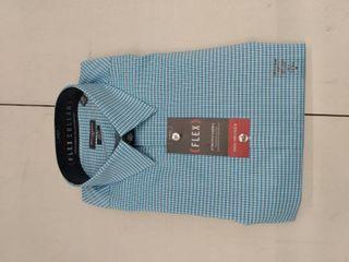Men s Van Heusen Slim Fit Flex Collar Stretch Dress Shirt  Size  15 5 32 33  Turquoise Blue