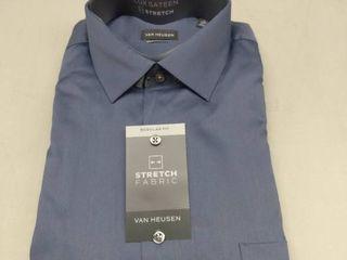 Men s Van Heusen Regular Fit lux Sateen Stretch Dress Shirt  Size  17 34 35  Glacier