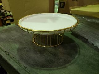 11 5  White Ceramic Cake Display with Gold Stand