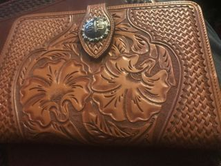 Another very nice leather tooled notepad whole smaller notepad has magnetic latch to hold close very very nice