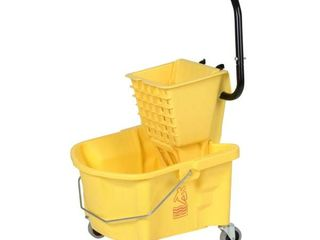 Continental 226 312YW  Yellow Splash Guard Combo Pack Bucket with 3  Non Marking Grey Casters and SW12 Side Press Wringer  26 quart Capacity  Case of 1