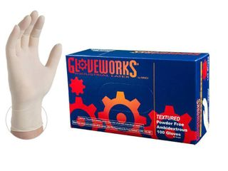 Gloveworks latex Powder Free Industrial Disposable Gloves  Small  Ivory  100 Box