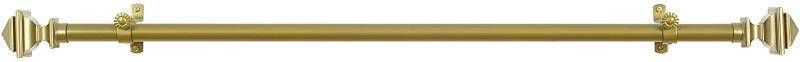 Achim Home Furnishings Buono II Bach Curtain Rod with Finials  28 Inch Extends to 48 Inch  Gold  RETAIl  16 99