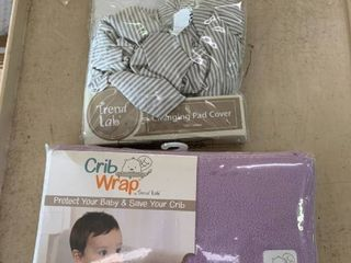 Baby lOT  Striped Trend lab Changing Pad Cover   Purple CribWrap Rail Cover