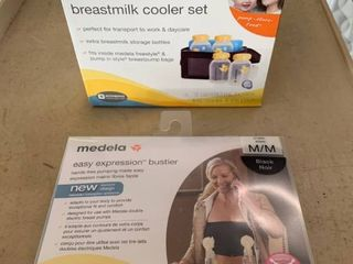 Medela Nursing lOT  Easy Expression Bustier  M  Black    Breastmilk Cooler Set  RETAIl  48